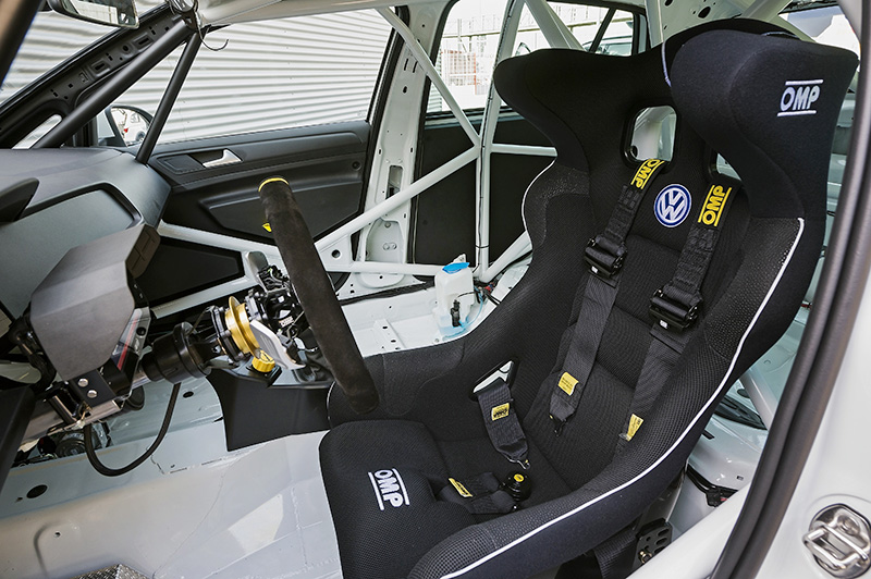Bare bones interior is built with safety measures according to FIA regulations.