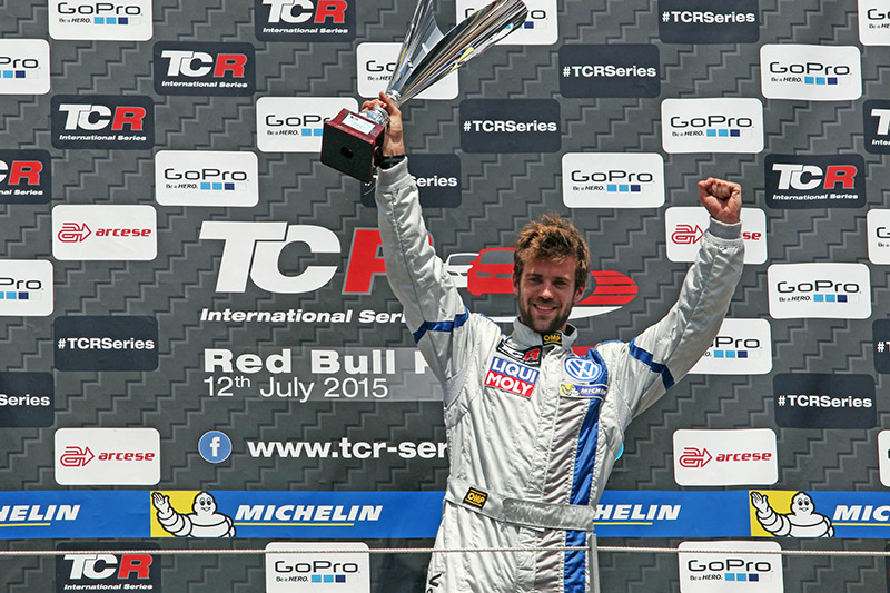 Pol Rosell from Spain wins race two in the Touringcar Racer International Series (TCR) in Austria.