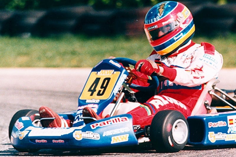 A young Alonso attacking the track in his go-kart