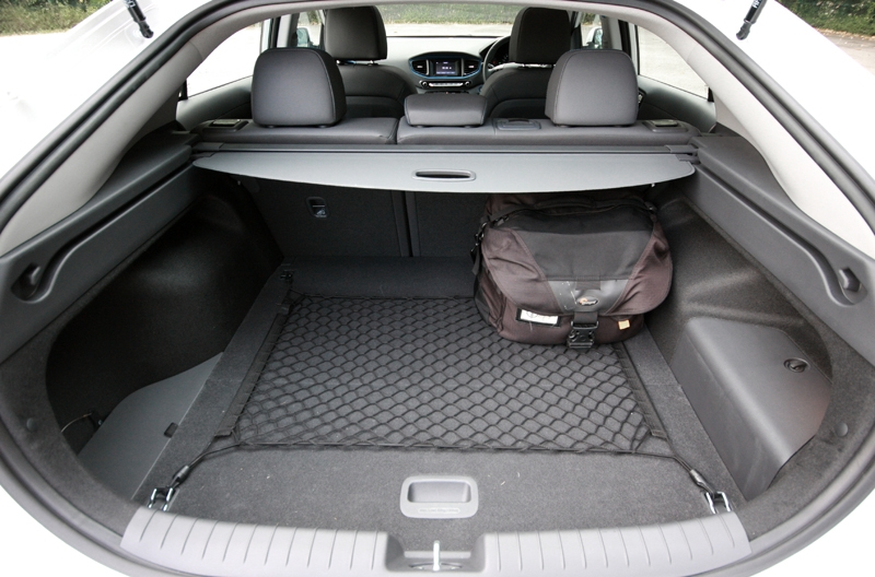Ioniq offers 443-litres of boot space, 1,410-litres with the rear backrest stowed away; as good as the average family hatchback