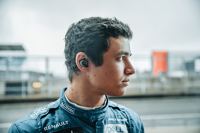 Lando Norris preps himself for each race with his favourite tunes, using the T5 II True Wireless Sport McLaren Edition earphones.