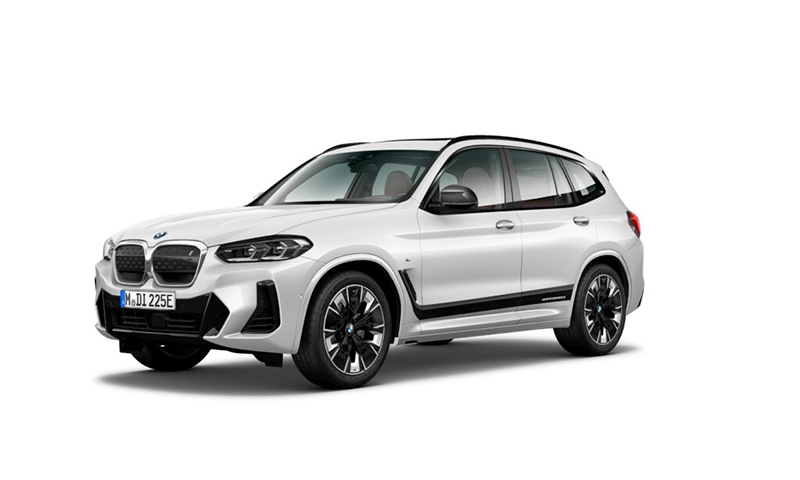 The BMW iX3 Legend Edition in Mineral White. Also available in Carbon Black.