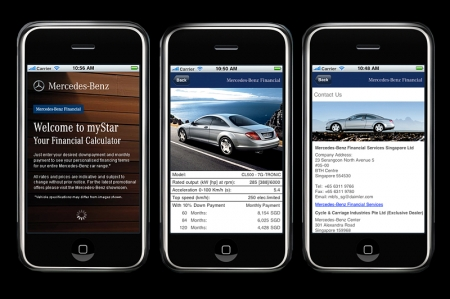 Mercedes-Benz Financial Services launches the iPhone®app 'myStar' that allows users to calculate current financing conditions for Mercedes-Benz cars. All they need to key into the free application is their preferred down payment as well as a monthly payment amount and they will be able to see which model they can best purchase. Together with this calculation, the latest car image, information and specifications of the selected model will be displayed. The iPhone®app 'myStar' is also expected to roll out in other markets namely Australia, China and Korea.