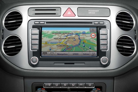 "The factory-fitted RNS 510 radio navigation system uses the Global Positioning System (GPS) to provide turn-by-turn route guidance. It features full touchscreen control on its 6.5-inch widescreen display. For added convenience, voice control can be used for certain functions. The device identifies short voice commands like ""start route guidance"" and immediately begins to calculate the route."