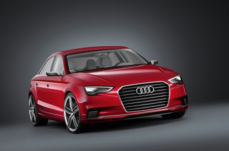 The Audi A3 concept is a four-seat notchback sedan. It measures 4.44 metres long and 1.84 metres wide, but just 1.39 metres high – proportions that underscore its dynamic character. The design represents the typical Audi language of sporty elegance. The single-frame grille is integrated into the front end, giving it a sculptured look. Its frame is made of carbon-fiber-reinforced plastic (CFRP), and the transversely mounted, three dimensional
