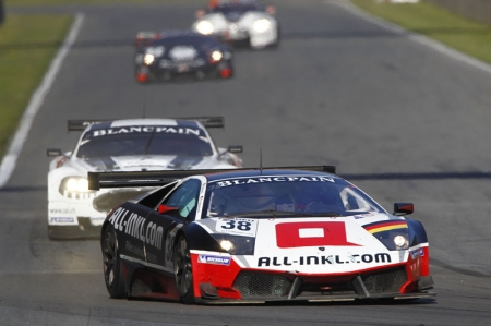 As the field came through the first lap it was the No. 38 Lamborghini in the lead from the No. 11 Exim Bank Team China Corvette of Mike Hezemans and Nicky Catsburg. The field remained tightly bunched however with less than four seconds covering the top eight after five laps, and the order condensed further three laps later when the Safety Car came out. Peter Dumbreck had dived down the inside of the No. 40 Marc VDS Ford GT and looked to have the line, but spun as the Ford refused to cede ground and was collected by the helpless No. 9 Belgian Racing Ford GT - the resulting damage causing a lengthy Safety Car spell.