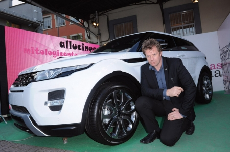 Benedict's installation focuses on the individual design elements of the Range Rover Evoque. Building on the Range Rover Evoque wireframe design, the installation includes 3D wheels and front and back seats, all made from steel and painted in a rainbow of colours including lime green and neon pink.