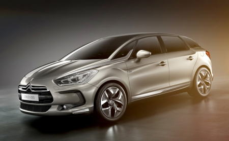 "Based on the C-SportLounge concept, the DS5 is designed with smooth-flowing lines, a sleek profile and muscular wheel arches that wrap around large alloy wheels. There is an over sized air intake, a large chrome-finished grille housing the chevrons and a new LED light signature. A distinguishing feature, the DS5 boasts of a chrome-finished ""sabre"" inserts stretching from the top of each head lamp to the windscreen."