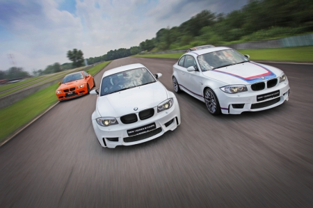 Compact sized BMW 1 Series M Coupe is at home in this tight circuit.