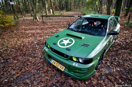 Johan van Tongeren's Impreza began its life in early 2000. But as the white paint fouled up after ten years, Johan decided to spruce it up himself and gave it a name:
