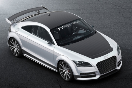 To be fair though, the Audi TT Ultra Quattro Concept isn't all max power and unhinged lunacy. In fact, the thinking behind it is fairly inspired — using Audi's racing experience to shed massive amounts of weight: the car weighs just 1,111kg, 300 less than the TTS on which it's based.