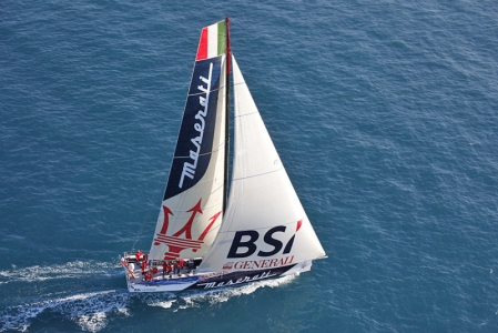 The VOR 70 Maserati yacht is an engineering marvel. With a carbon mast of over 30 meters, a canting keel, water ballast, canards, sleekly elegant waterlines and a composite construction, it measures at just over 20 meters and was built for the purpose of one thing: speed.