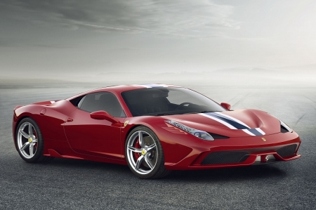 Many of the sophisticated solutions being applied for the very first time to an in-range car in the 458 Speciale, including its advanced active aerodynamics, will become a standard feature of all new Ferraris in the future. Flanked in the Maranello marque's range by the multi-award-winning 458 Italia and 458 Spider, the new mid-rear-engined V8 berlinetta was designed to boost both performance and driving emotion to unprecedented levels, yet simultaneously guarantee smooth, effortless control in all kinds of situations.
