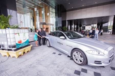 Alpha Biofuels has signed a three-year agreement with The Westin Singapore to provide the upper upscale hotel with its exclusive Green Luxury biodiesel-powered limousine fleet, which consists of two Jaguar XJ sedans. What makes this project revolutionary is that the biodiesel will be obtained exclusively from recycling waste cooking oil generated by The Westin Singapore, thereby forming a self-sustaining 'waste-to-energy' loop. In addition, The Westin Singapore's Green Luxury limousines represent the first luxury limousine fleet in Singapore to consist completely of biodiesel-powered vehicles.