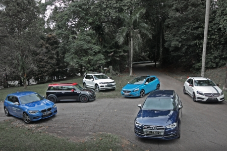 Well, they may not be your average supercars, but they are all sporty enough to give any big-engined, bank-breaking engineering feats on four wheels quite a hard time on our roads. Simply put, a lot of performance for not a lot of money. Meet (in clockwise direction) the BMW M135i, MINI John Cooper Works, Volkswagen Touareg TDI R-Line, Volvo V40 R-Design, Mercedes-Benz A45 AMG and Audi S3 Sportback. That's a combined 1,592 bhp and 2,350 Nm of torque…