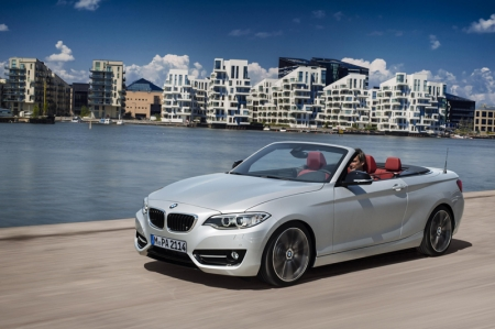 The BMW 2 Series Convertible will be available with a choice of four engines, including a new 2.0-litre diesel for the 220d and, for the first time in a BMW convertible, an M Performance variant, the M235i. Fuel economy improvements over the previous model average 18 per cent. The 2 Series Convertible also brings significant improvements in passenger space and access, acoustic comfort, style, dynamism and equipment, while the ConnectedDrive services for the first time include wireless updating of navigation data.