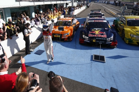 The runner-up's spot and third place in the drivers' championship were secured by Audi as well. The two-time DTM champion Mattias Ekström in the Red Bull Audi RS 5 DTM of Audi Sport Team Abt Sportsline celebrated his second victory in succession and finished the season as the runner-up. Last year's champion Mike Rockenfeller in the Schaeffler Audi RS 5 DTM of Audi Sport Team Phoenix on clinching second place advanced to third place in the drivers' standings. Jamie Green in the Hoffmann Group Audi RS 5 DTM of Audi Sport Team Rosberg in third place made for drivers from all three Audi Sport Teams mounting the podium in the season finale.
