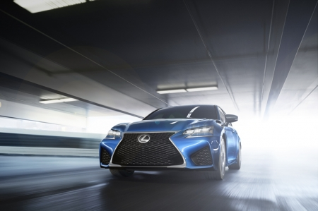 The GS F is powered by Lexus's normally aspirated 5.0-litre V8 engine, here producing 470 bhp and peak torque in excess of 530 Nm. The unit is mated to a quick eight-speed automatic transmission that offers a manual shift option and four driver-selectable operating modes: Normal, Eco, Sport S and, designed specifically for race track driving, Sport S+.