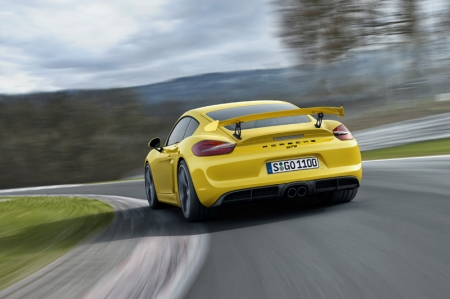 The Cayman GT4 is powered by a mid-mounted, 3.8-litre flat-six engine with 385 hp (283 kW) produced at 7,400 rpm, which is derived from the 911 Carrera S engine. Its power is transmitted by a standard six-speed manual gearbox with dynamic gearbox mounts - there is no PDK transmission option, which should be good news to purists. This translates to a 0-100 km/h time of 4.4 seconds; top speed is 295 km/h. The car\'s NEDC fuel consumption is 9.7 km/L, equivalent to 238 g/km CO2.