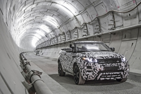Forty metres below the streets of London, the first prototype of Land Rover's new Range Rover Evoque Convertible was granted exclusive access to the 26-mile (41.8 km) network of Crossrail tunnels for a development test with a difference. Engineers were allowed the opportunity to drive the disguised Evoque Convertible with its roof lowered in complete privacy.