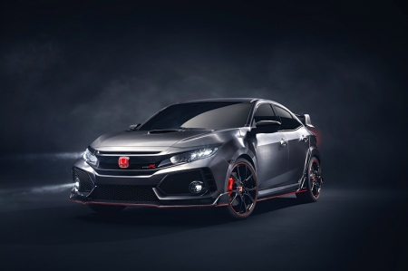 Based on the low and wide proportions of the new Civic hatchback, the Type R Prototype is enhanced by the muscular body styling and modifications to aid aerodynamic performance. The exterior is clothed in a highly reflective, finely-grained brushed aluminium-effect finish unique to the show car.