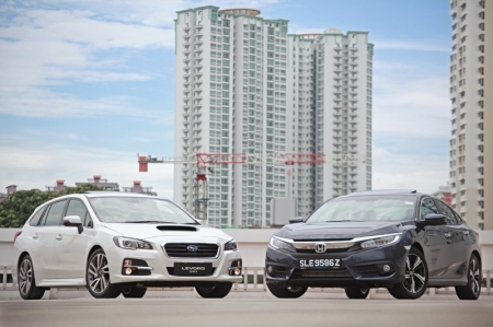 But now the Japanese are beginning to get slightly adventurous, going against their conventional norm so to speak. They're giving us family-friendly cars with — wait for it — powaaah. Gentlemen meet the new turbocharged Honda Civic VTEC Turbo and Subaru Levorg, two cars that would also make the solo drive to and from work more entertaining.Previously we've reviewed both the Subaru and then Honda separately, so now just because they're both the only turbocharged Japanese family sedan with 'medium-sized' engines, we decided to bring them together for this story.