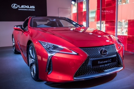 Two variants are available — the LC 500 packing a naturally aspirated 5.0-litre V8 with 470bhp, and the LC Hybrid featuring a 3.5-litre V6 with a Multi-Stage Hybrid System that produces 353bhp.