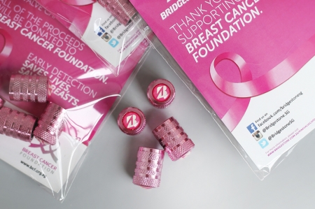 Held from 1st August to 31st October 2017, 10,000 packs of four pink tyre valve caps will be made available at 35 participating Bridgestone dealers' and business partners' stores, with each pack available for purchase at $4. Donation boxes will also be placed alongside the shelves throughout the campaign period.
