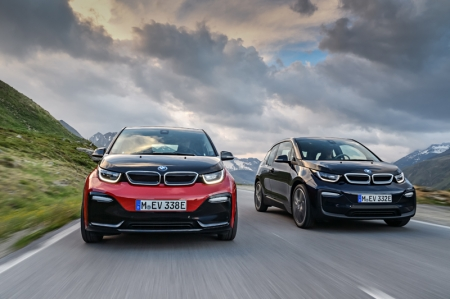 Premiering in September 2017 at the International Motor Show (IAA) in Frankfurt, the refreshed BMW i3 and new BMW i3s enable drivers to enjoy locally emission-free mobility with the added benefit of instantaneous power delivery. Both models draw their energy from a 33 kWh lithium-ion high-voltage battery (an increase from the original i3's 22 kWh battery), offering a range of up to 300 km. Should a longer range be required, a 38 bhp range extender petrol engine can also be ordered as an option for both cars, extending range by an additional 150 km.