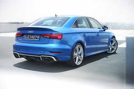 The entry-level RS we have here today is the RS3 sedan. Now in a compact saloon form, this pocket powerhouse packs 394 bhp and a whopping 480 Nm of torque in that little body.