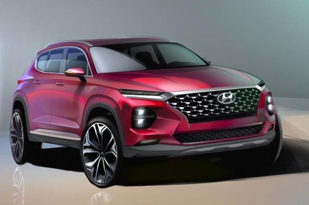 The exterior rendering highlights the new frontal section of the new generation Santa Fe. Hyundai is also introducing a large 'Cascading Grille' complimented by a separate headlight system, featuring divided daytime running lights (DRLs) and main lamps.