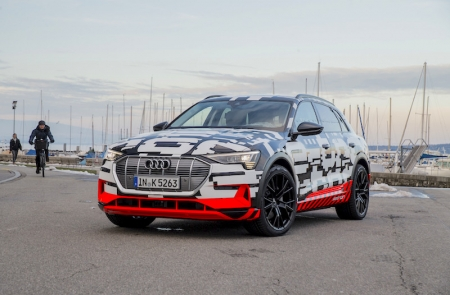 "The Audi e-tron prototype offers a preview of the first all-electric model from the brand. ""Audi sets an important milestone for the company's future with its first purely electrically powered model,"" said Rupert Stadler, Chairman of the Board of Management of Audi AG."