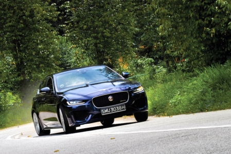 More uncanny than that though, is how the car flows down any given road, the tyres always keyed into the surface, rising and falling perfectly along every bump or undulation. The XE gives a feeling of connection with the road yet never discomfort, the ride being supple and refined despite wearing large 19-inch rims. It's a real triumph of chassis and suspension tuning, a stark contrast to the similarly athletic but frustratingly brittle-riding BMW 3 Series.