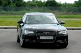 The new Audi A8 is available in Singapore with the 3.0 TFSI (290 bhp), 4.2 FSI (372 bhp) and 6.3 FSI (500 bhp) engines. The output and torque of all engines have increased versus the previous model, whilst fuel consumption has decreased considerably: as much as 22 percent thanks to intelligent technologies such as the recuperation system, innovative thermal management for both the engine and transmission, and vastly reduced internal friction. The standard transmission also plays a large role in the efficiency of the new A8 model series. The extremely convenient eight-speed tiptronic finely graduates its gears while achieving a large overall spread. Its control system is purely electronic, operated with an elegant selector level and rocker switches at the steering wheel. The quattro permanent all-wheel drive has a distinctly sporty and rear-biased character. The optional sport differential dynamically distributes the forces between the rear wheels.