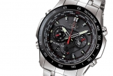 The EDIFICE EQS-A1000DB, the latest model in a line-up of sporty chronographs from Casio's collaboration with Red Bull Racing. The Solar-powered watch features a 1/20-second chronograph, Tachymeter, World time, 5 independent motors, Sapphire glass, 100-meter water resistance, all encased in a Stainless steel case and band.