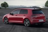 Complete with a racier front bumper with black strakes, smoked LED rear lights, chrome exhaust pipes, side sill trim, diffuser, sport suspension and a large roof spoiler, the GTD hints strongly at what the GTI will finally look like.