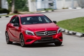 If there's one aspect the new baby Benz excels, it's in its styling. It looks squat and purposeful, with some neat touches like the gloss black front valance and wing mirrors. Surprisingly for a small car, this is also the most successful interpretation of Mercedes' new wide, two-bar grille, certainly much better integrated than on the SL and CLS. Others have found the styling too fussy, with too many creases and lines all over the place, but I like it. It does, however, need large rims to complete the look, and the 18-inchers on our test car fill out the wheelarches perfectly.
